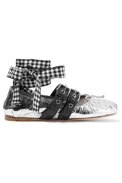 Miu Miu - Lace-up Metallic Leather Ballet Flats - Silver - IT37.5