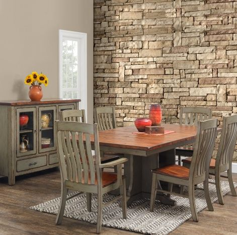 Solid Wood Handcrafted Coulter Cross 7 Piece Dining Set