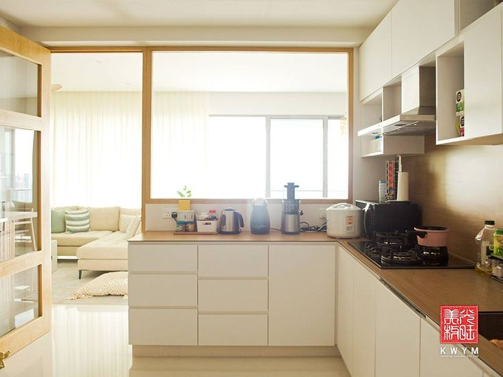 8 Ways to do a Semi-Open Kitchen in your HDB: To add warmth to an interior, opt for wooden frames, which are usually constructed by swathing the frames in woodgrain laminates.