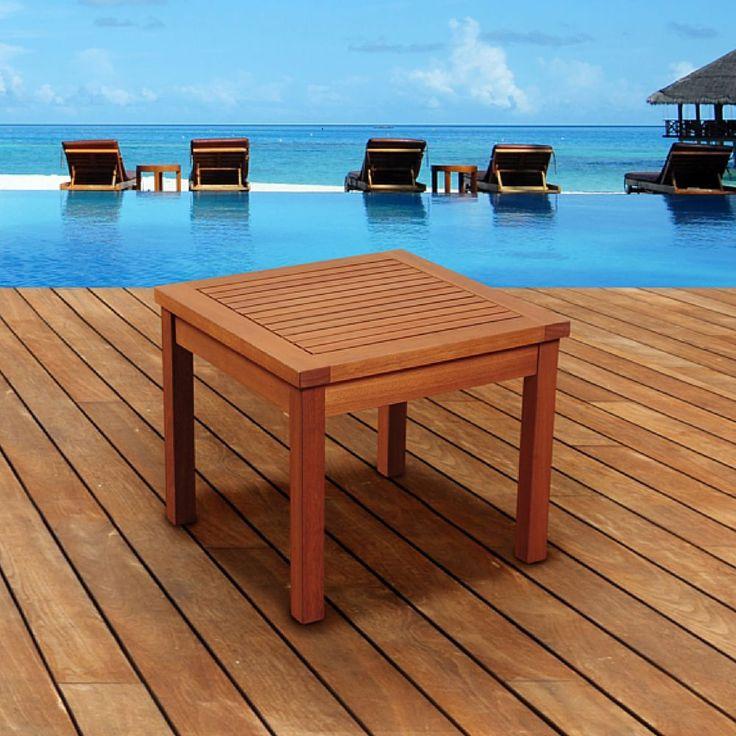 Patio Furniture Outdoor Side Table Garden Chair Pool Eucalyptus Wood Backyard  #Unbranded
