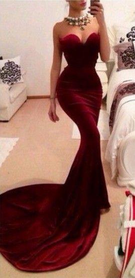 Sweep train mermaid/trumpet 2015 prom dress