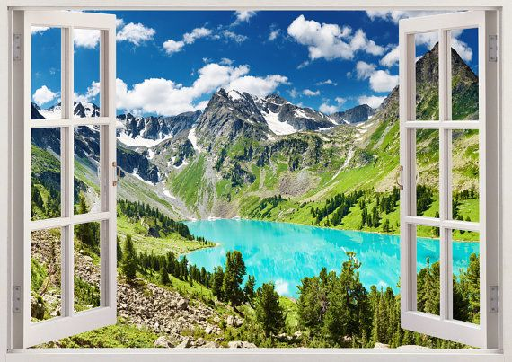Nursery wall decals lake 3D window, children bedroom tree wall stickers, colorful mountains lake wall art for baby room or kids room [139]