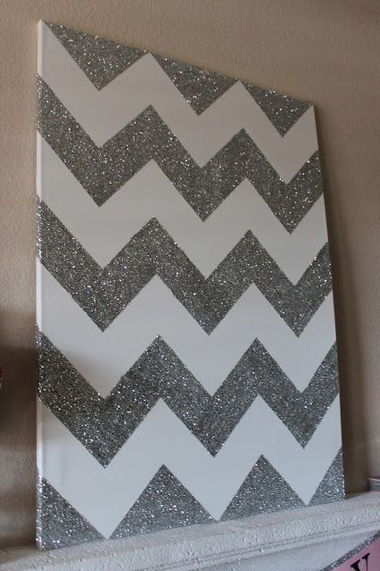 Glittery Chevron Canvas - 50 Amazingly Beautiful DIY Glitter Projects - DIY for Life