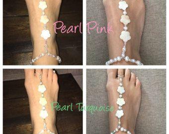 Een paar van bruids Barefoot Sandals parel kralen Anklet