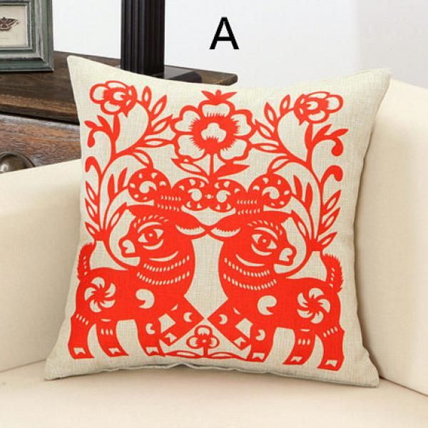 Red sheep throw pillows for couch Chinese style pape cut animal pillow
