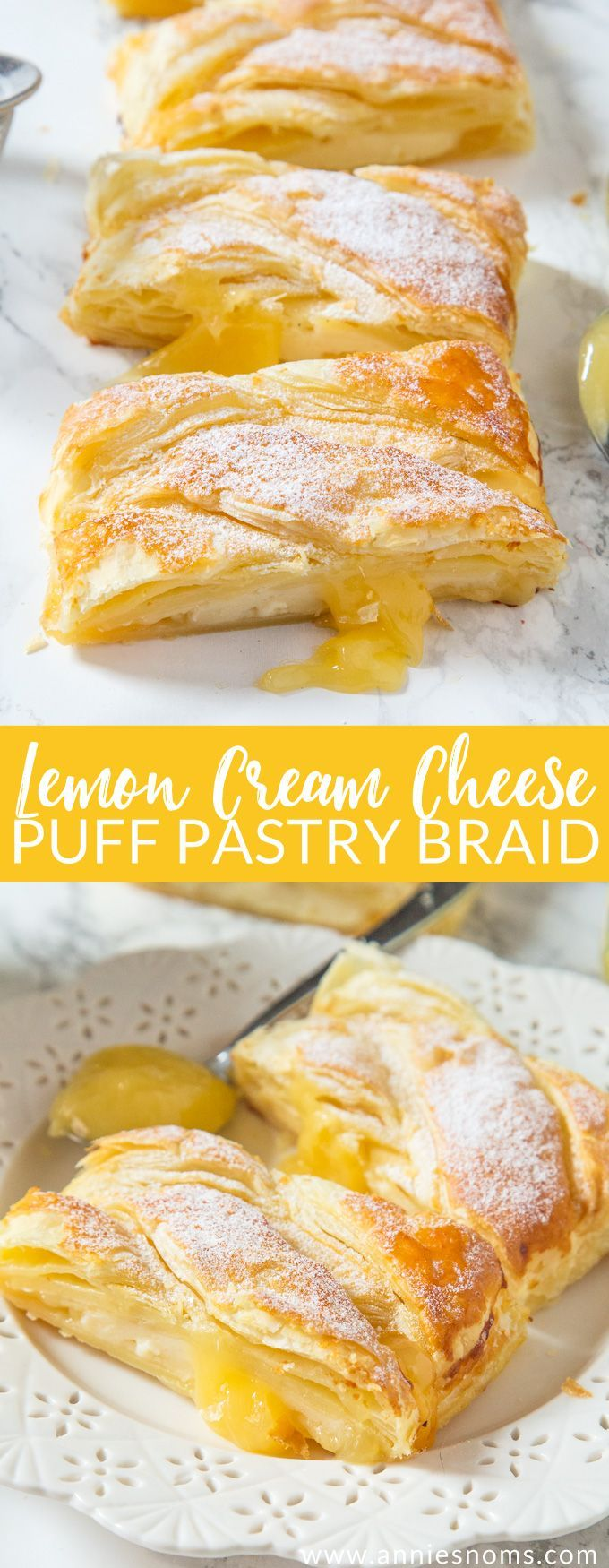 This Lemon Cream Cheese braid is ready in under 30 minutes! Flaky pastry filled with lemon curd & cream cheese to create a sweet dessert everyone will love!