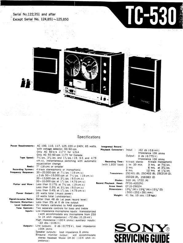 Sony TC-530 reel to reel tape recorder Service Manual 100 per cent satisfaction guaranteed  100 DOWNLOAD