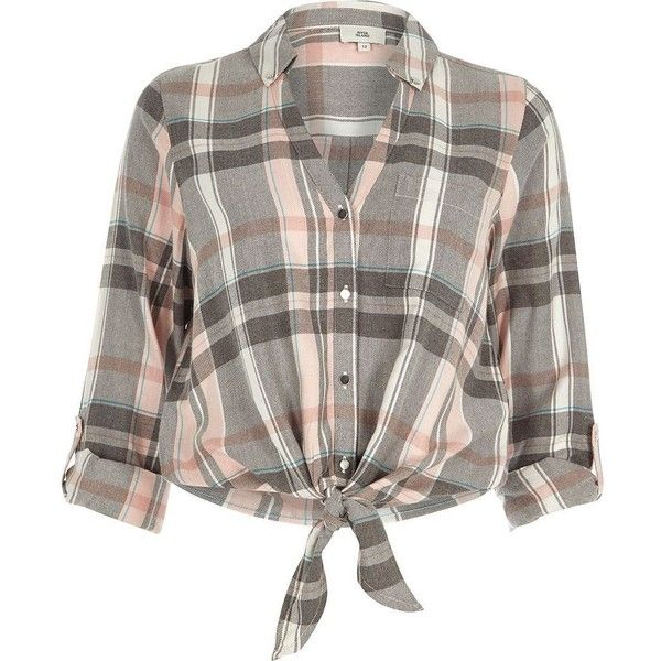 River Island Pink check tie knot front shirt ($56) ❤ liked on Polyvore featuring tops, pink, shirts, women, pink checkered shirt, pink shirt, shirt top, long tops and checked shirt