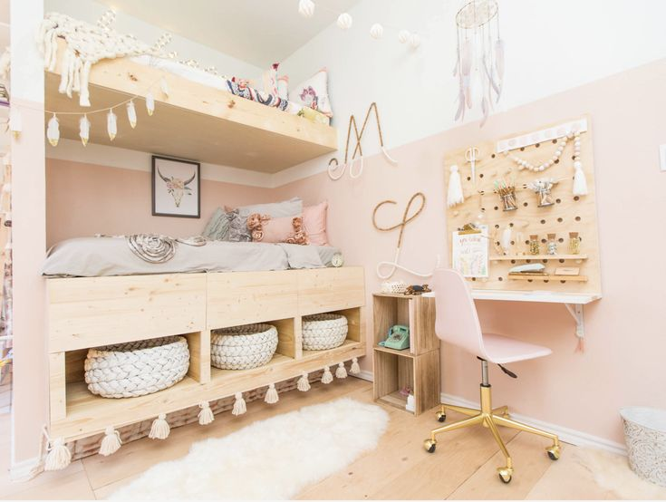 Soft pink paint 2/3rds of the way up the wall creates visual interest, while not overwhelming this teen room in pink. #urbanologydesigns