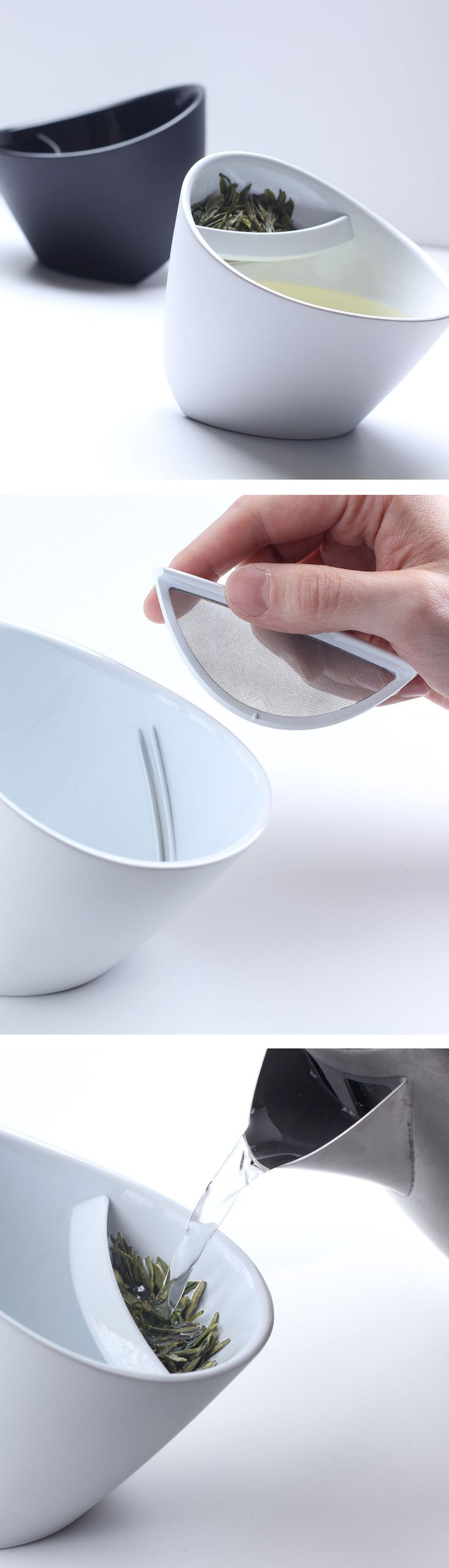 Tipping Tea Cup - once tea is seeped, tip the cup to move leaves away from the water.
