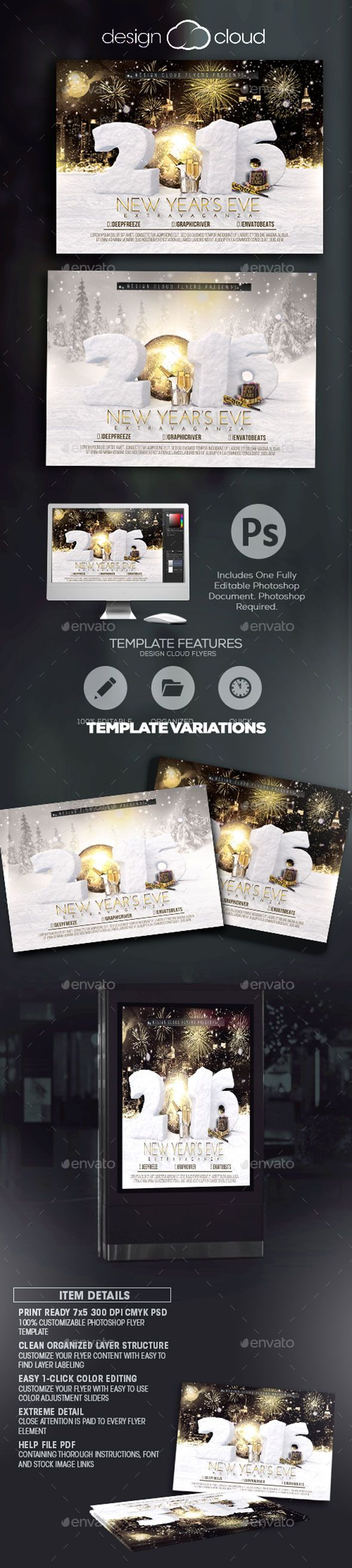 New Year's Eve Extravaganza Flyer Template — Photoshop PSD #party #light • Available here → https://graphicriver.net/item/new-years-eve-extravaganza-flyer-template/9630495?ref=pxcr