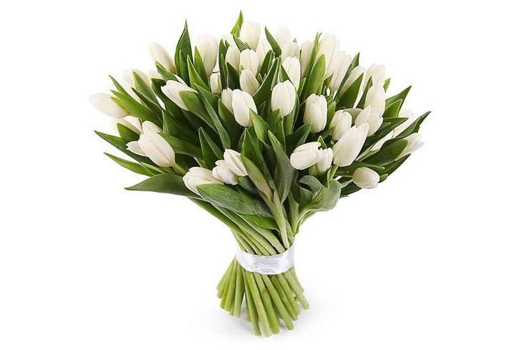 прекрасный Букет 51 тюльпан, белые  #Букеты #Оригинальныебукеты,Букет51тюльпан,белые