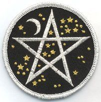 Sew this beautifully embroidered cloth patch to your favorite clothing, accessories, or ritual wear. It consists of a silver interwoven pentagram & crescent moon, surrounded by golden stars. The backg