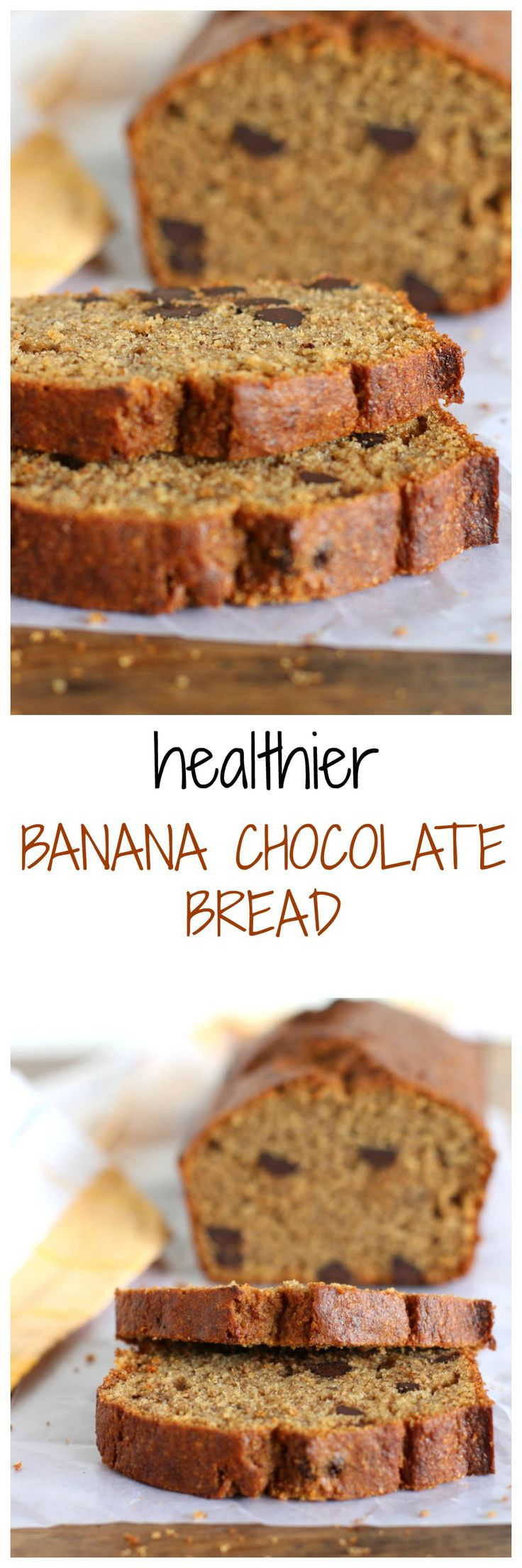 HEALTHIER DARK CHOCOLATE CHIP BANANA BREAD, with coconut oil and chunks of dark chocolate, it will become a favorite fast.