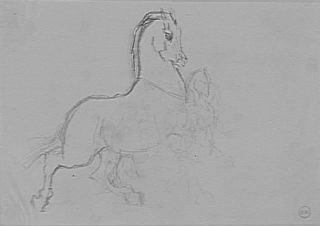 """Carton 35. Etude de chevaux cabrés, pour """"Diomède dévoré par ses Moreau Gustave (1826-1898)  Paris, musée Gustave Moreau"""