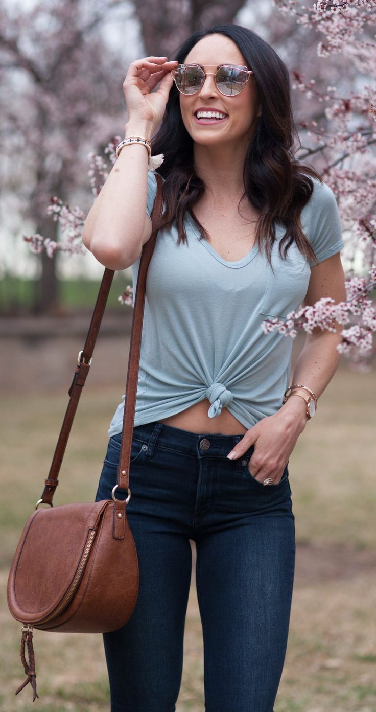 #spring #outfits Grey Top & Navy Skinny Jeans & Brown Leather Shoulder Bag
