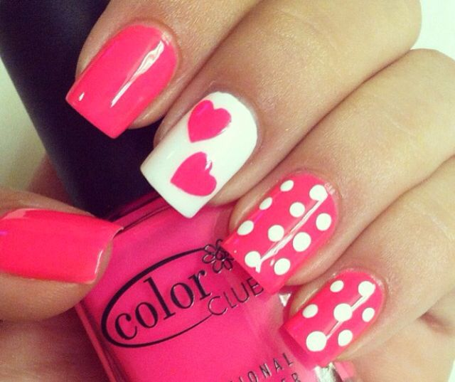 Pink, white, and hearts