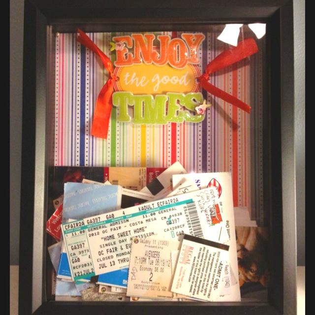 Ticket stub keepsake box