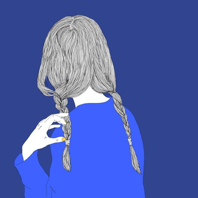 #illustration #drawing #lineart #artwork #linedrawing #tress #pigtail #hair #plait #braid #blue #sweater #fall #fashion #일러스트 #드로잉 #그림 #땋은머리 #양갈래 #파란색스웨터