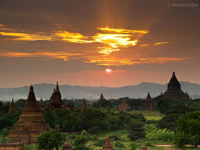 Burma - the temples of Bagan. Not sure Burma is open to tourists, but it looks like a beautiful country.