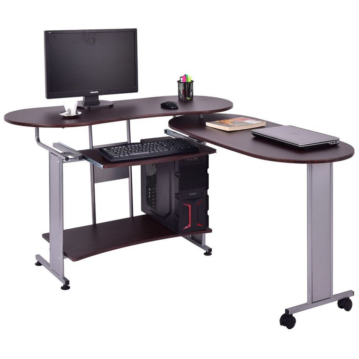 L-Shaped Computer Desk Expandable PC Laptop Desk Corner Workstation Home Office #Unbranded