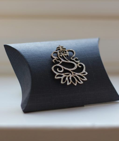 Indian Ganesh Wedding Favour Box - Navy Pillow