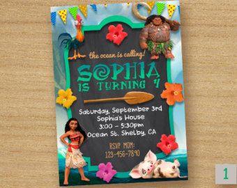 Moana Invitation Card Moana Chalkboard Party Disney by DinoParty