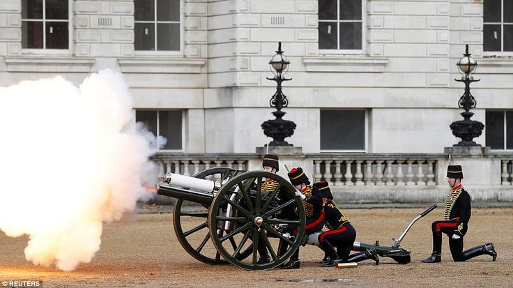 A cannon is fired in the courtyard of Banqueting House a ceremonies take place on Remembrance Sunday