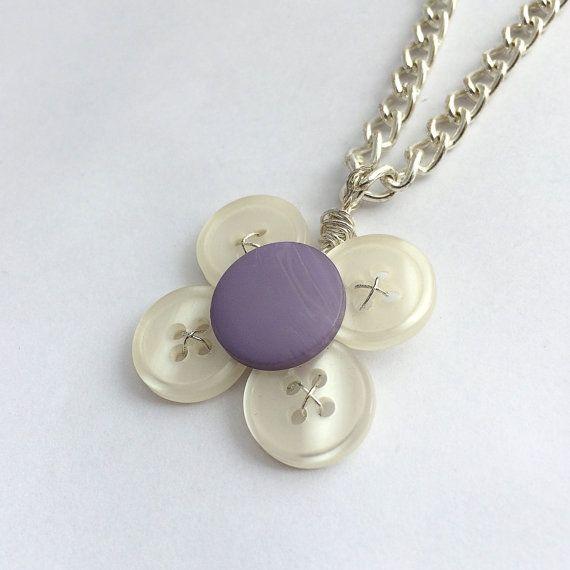 Flower pendant Button necklace vintage button by PurpleLilyVintage