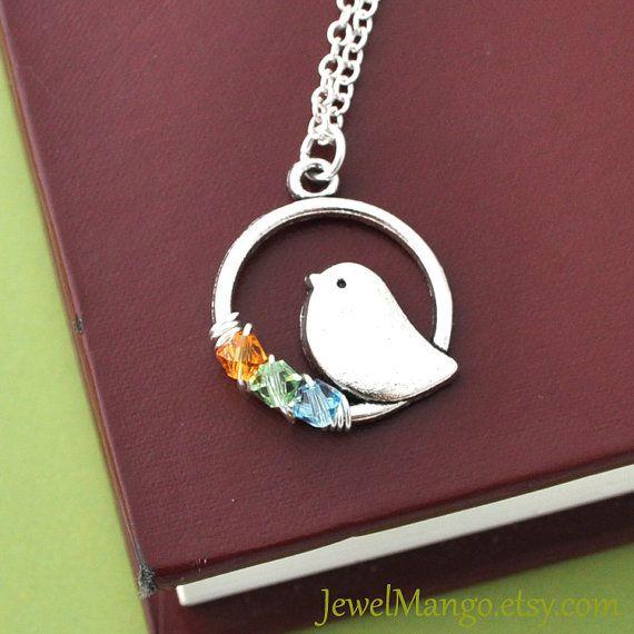 Personalizzati collana madre nascita pietra Collana mamma uccello birthstone collana, collana personalizzata della mamma