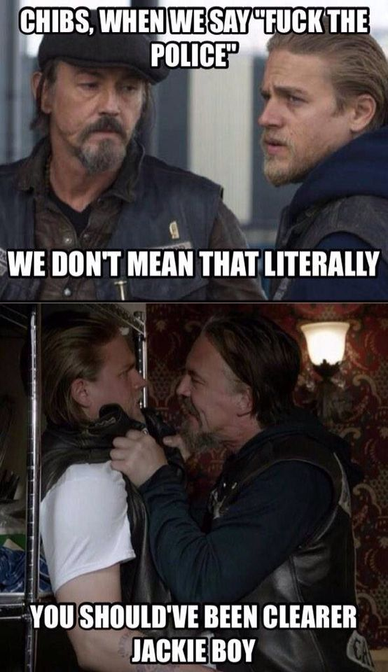 """Lol  am I the only one that read it in chibs accent? Especially the """"jackie boy"""" part? LOL #soa"""