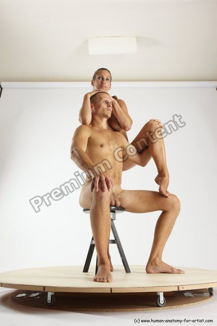 PHOTO OF NUDE WOMAN - MAN WHITE SITTING POSES - SIMPLE SLIM SHORT BROWN SITTING POSES - ALL MULTI ANGLES POSES