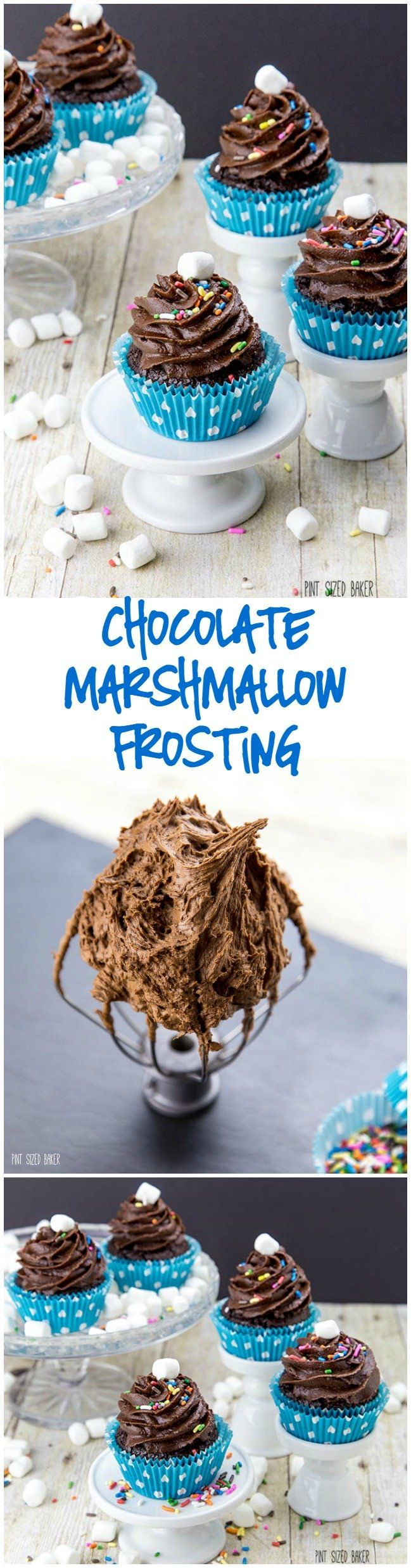 Simply the best Chocolate Marshmallow Frosting recipe. It makes some of the best cupcakes even better!