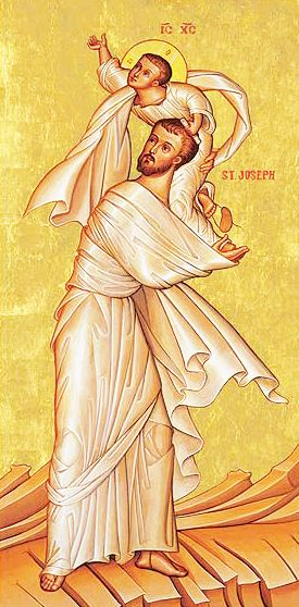 Nine Days of Prayer with Saint Joseph - prayers for children and family - http://www.cptryon.org/prayer/9days/stjoseph.html (Rare icon of Saint Joseph the Betrothed playing with Child Jesus)