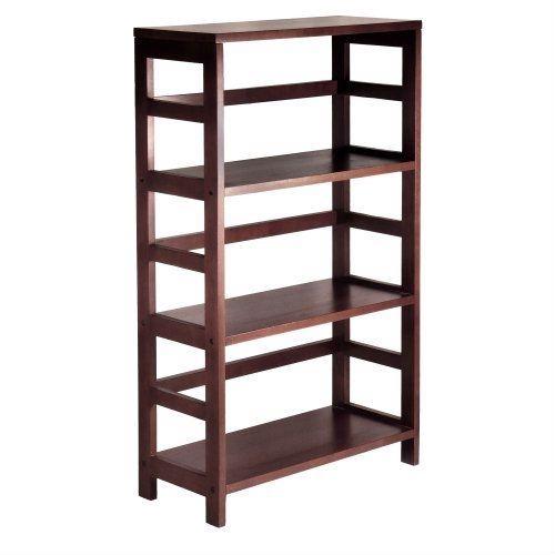 3 Shelf Wooden Shelving Unit Bookcase In Espresso Finish