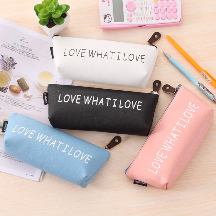 Novetly Simple 'Love What I love'  PU Pencil Case Stationery Storage Organizer Bag Boys&Girls Pencil Case For School Supplies