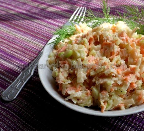Kulinarne szaleństwa Margarytki: Surówka z pora z marchewką i jabłkiem