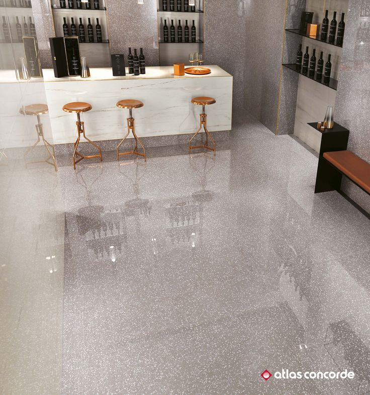A range of floor and wall tiles that reproduce the elegance of venetian terrazzo to create