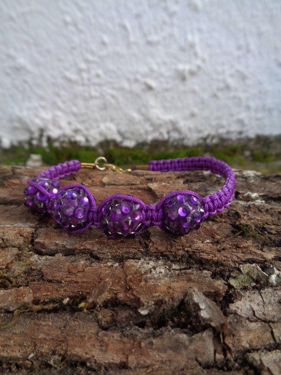 Purple OOAK friendship bracelet / Rhinestone bracelet / Summer bracelet / Beaded bracelet /Macrame bracelet/ Ethnic bracelet