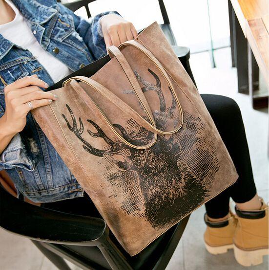 Inverno 2017 elizabethans borsa grandi borse da donna di modo della stampa una spalla cervi borsa pacchetto di immagini borsa delle donne