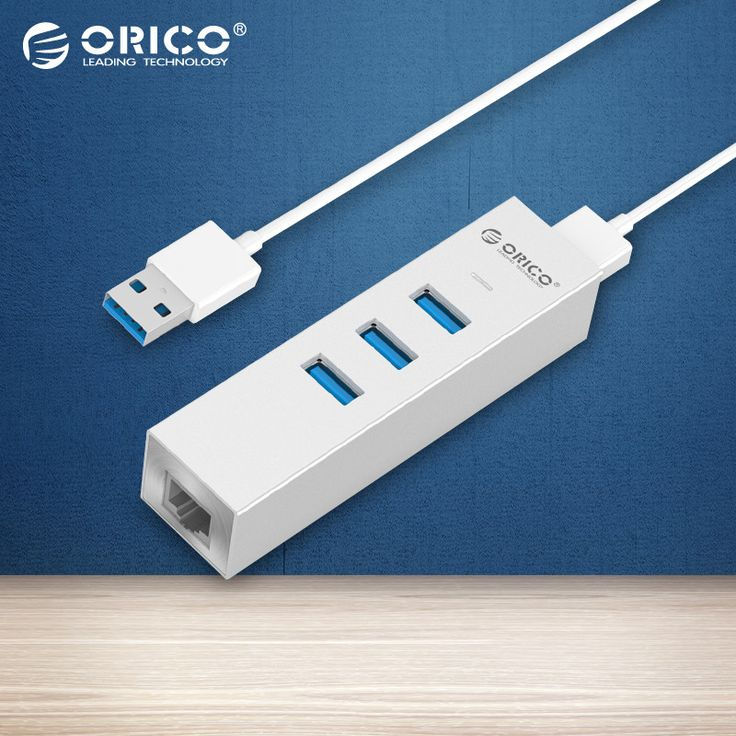 ORICO ASH3L-U3 Aluminum USB3.0 HUB with RJ45 for MAC Notebook Perfectly - Silver #Affiliate