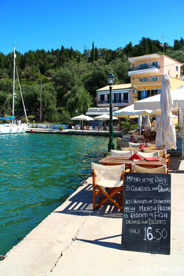 Menu of the day; photo from Lakka, Paxos