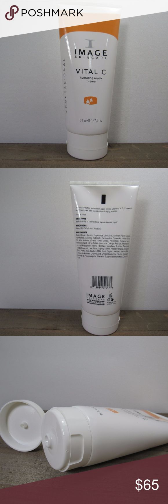 Image Skincare Vital C Hydrating Repair Creme 5 oz This Hydrating Repair Creme is the backbar size from Image Skincare. I use this and love it, and got too many in my last order.  Nothing wrong with it, just didn't need this extra tube.  Description from Image Skincare:  This rich, reparative crème quenches dryness, soothes redness and comforts irritated skin. Ceramides help to prevent the evaporation of moisture by forming a protective barrier on the skin, while vitamins nourish and…