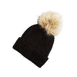 F&F Ribbed Knit Faux Fur Bobble Hat One Size Black
