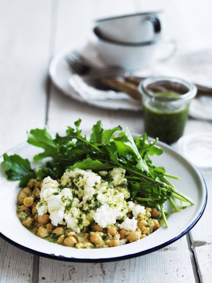 Ricotta Chickpea And Rocket Salad With Lemon Anchovy Dressing