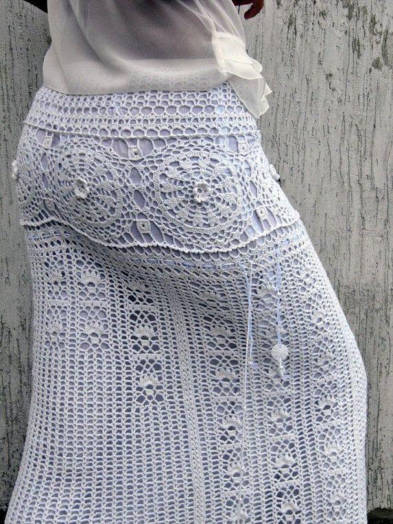 Blanco maxi falda novia falda Bohemia blanco largo por TaramayKnit