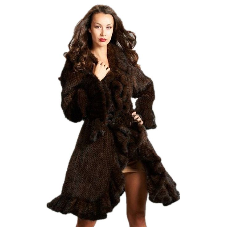Luxury Design 100% femmes véritable fourrure de vison tricoté manteau Long style Ruffle chaud pardessus mode fourrures vêtements vestes manteaux lady(China (Mainland))