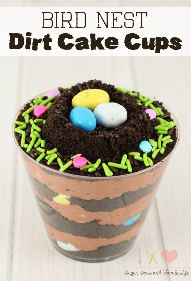Bird Nest Dirt Cake Cups are the perfect chocolate dessert for spring. The pudding cups are layered with chocolate pudding and crushed Oreo cookies. Then decorated with sprinkles and mini chocolate candy eggs.