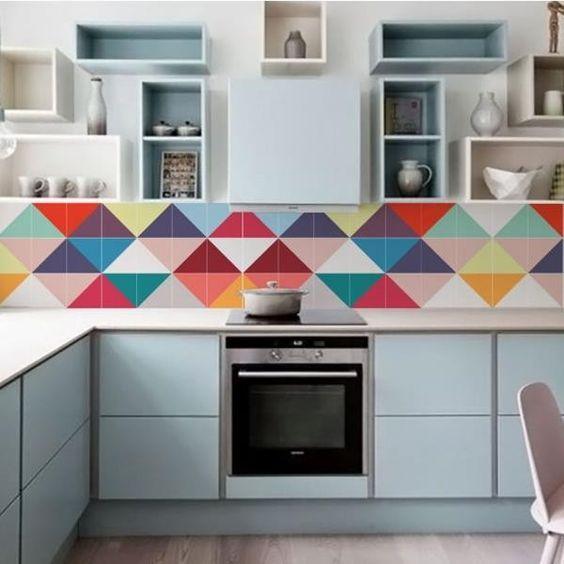Adesivo para Azulejo na cozinha colorida