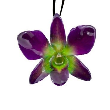 Real Orchids Preserved in Resin-Green/Purple- Dendorbium Necklace/ Brooch $45